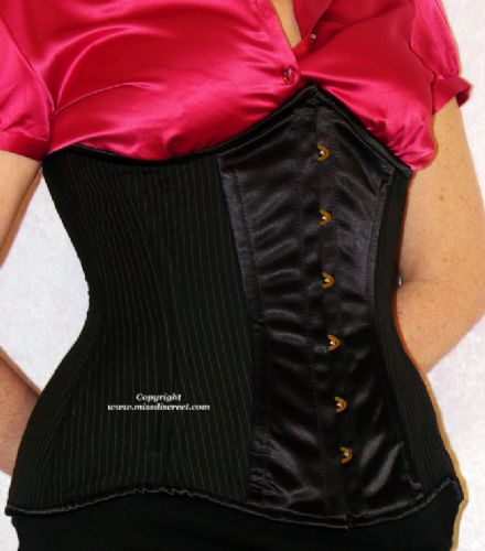 "Steel Boned Black & White Pinstripe Under-Bust Laced Corset - Waist Cincher - To Suit 25/26"" Waist"